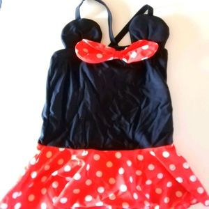 Girls Mini mouse one piece bathing suit size 7